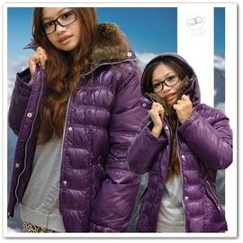 【山力士 SAMLIX】女 羽絨外套.雪衣.夾克.保暖外套.休閒外套.短版外套.防潑水.羽毛衣.100%水鳥羽絨.修飾身型(紫)/ 395 B