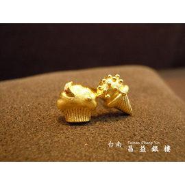 台南昌益銀樓~金飾 ~黃金輕型耳環~冰淇淋蛋糕~ 不對稱耳環正夯 生日 情人 聖誕節