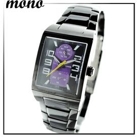 趙駿亞代言錶~mono~2702~596^(小黑^)長方型雙圈黑紫面錶 女錶 中性錶 鐵帶