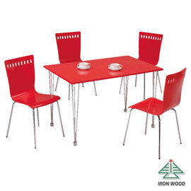 ~Ailiwu愛麗屋~奔馳俏紅長方餐桌椅組 1桌4椅  #1106H 1493~16