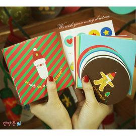 【HH婦幼館】韓版Merry Christmas 盒裝聖誕卡10張入.(2款隨機出)