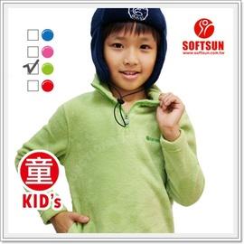 【SOFTSUN】最新 兒童彈性吸濕保暖刷毛套頭上衣.長袖刷毛排汗衣.排透氣.舒適/草綠 9SLK3910 B