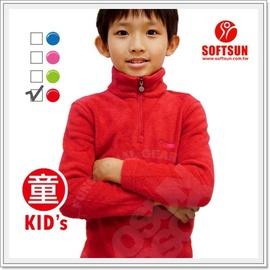 【SOFTSUN】最新 兒童彈性吸濕保暖刷毛套頭上衣.長袖排汗衣.透氣.舒適/紅 9SLK3910 B