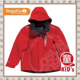 【英國 REGATTA 】《再送保暖雪襪》兒童Jetwind 3 in 1 防水防風二件式外套.耐磨.保暖.刷毛外套/紅 #RKP041 B (非Samlix)(非羽絨外套)