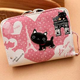 動物農莊之animal farm鐵塔黑貓 粉紅短款搭扣皮夾