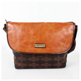 【騷包館】THINK PINK 潮流專櫃品牌 雙色菱格斜背郵差包 咖啡橘