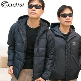 【ADISI】美國杜邦Tactel 男款 鵝絨保暖雙面外套.防潑水羽絨衣 雪衣.型男貼合身型/黑 # AJ1112098