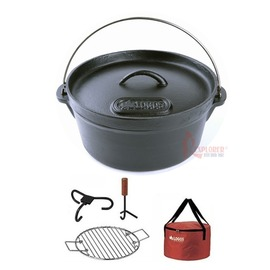 日本LOGOS NO.81062217全配組M號荷蘭鍋/鑄鐵鍋(附架/勾/袋)2012年免開鍋款