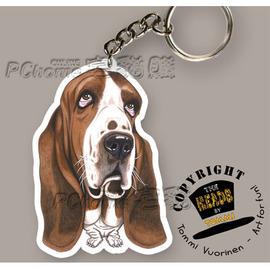 ~TOMMI VUORINEN 不鏽鋼狗狗貓咪專利 鑰匙圈~巴吉度獵犬~芬蘭大師親手繪製