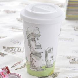 Bella House 我不是紙杯~城市風情系列 雙層陶瓷杯_智利 復活島~莫埃 Moai