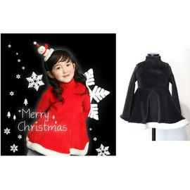 【HH婦幼館】韓版聖誕公主搖粒絨連衣裙(紅/黑)