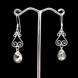 ~La luna 銀飾豐華~古典花紋施華洛水晶純銀耳環(銀灰)