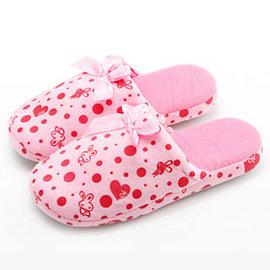 溫馨蝴蝶結兔兔印花短絨拖鞋(粉色38-39)