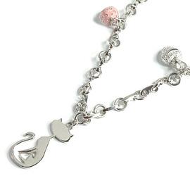 小花 ~FRENCH KITTY 法國貓愛心磨菇施華洛世奇水晶項鍊 亮面  飾品
