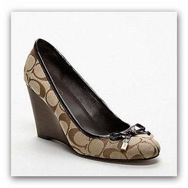 COACH q1220 蝴蝶結咖啡色娃娃楔型鞋