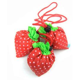可折疊環保草莓購物袋~不用時可摺疊成小草莓,可當吊飾!方便又可愛草莓袋子!
