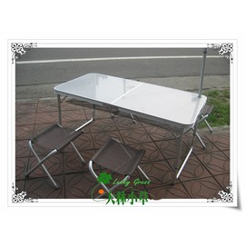 大林小草~比利時 DECUYPER AT-124 鏡面拉絲折疊桌椅組、摺疊桌椅組、、一桌四椅