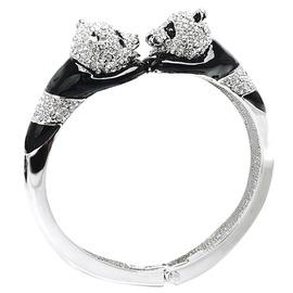 Glitz London 雙熊貓水鑽彈性金屬手鐲 手環 85349~L4