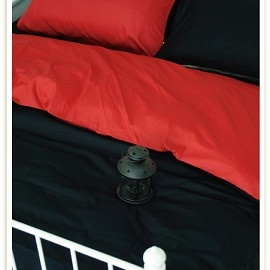 ~OLIVIA ~ 素色雙色簡約 BEST11黑X 紅 單人床包美式枕套二件組