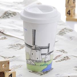 Bella House 我不是紙杯^~城市風情系列 雙層陶瓷杯_荷蘭 風車
