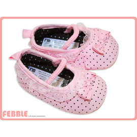 ~FEBBLE菲寶~滿滿水玉蕾絲滾邊粉紅公主系娃娃鞋 止滑軟底學步鞋 mother car