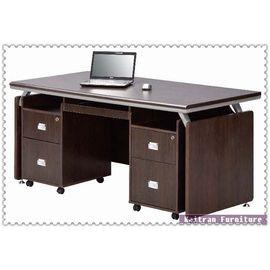 ~K032~02 胡桃主管桌^(整組^)~OA辦公桌~木製主管辦公桌~木製辦公桌