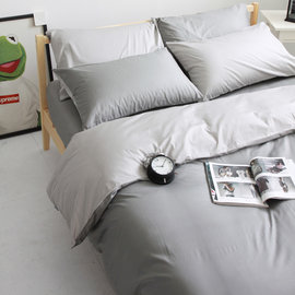 ~OLIVIA ~ 日式素色簡約 BEST 1鐵灰X銀灰 雙人薄床包薄被套四件組