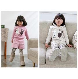 【HH婦幼館】韓版可愛兔子套裝.上衣+假兩件式褲子.運動服.休閒套裝