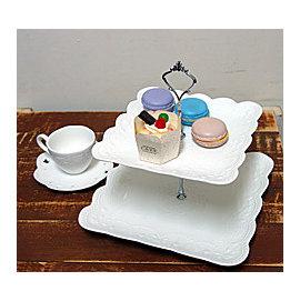 ^~微加幸福雜貨小築^~法式雙層水果盤 白色浮雕蕾絲 點心盤 蛋糕盤 馬卡龍盤 餅乾盤 鬆