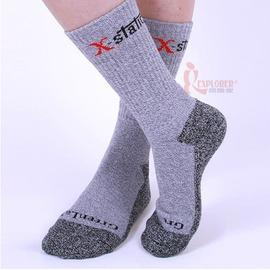 XGS444台灣製Green Lab銀鍺抗菌耐衝擊健行襪(L號)(灰色)