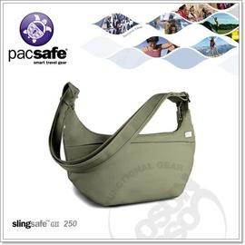 【Pacsafe】Slingsafe 250 GII 4L 安全肩包.抗割裂保護鋼網層.防盜拉鍊.背包.側背包/淺綠 PB126GY