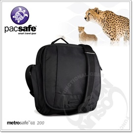【Pacsafe】Metrosafe 200 GII 7L 防盜旅行肩包.防搶抗割裂保護鋼網層.防盜拉鍊.背包.側背包/黑 PB012BK