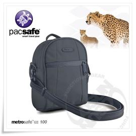 【Pacsafe】Metrosafe 100 GII 2L 防盜旅行肩包.RFID讀取保護.抗割裂保護鋼網層.防盜拉鍊.背包.側背包/灰藍 PB011MD