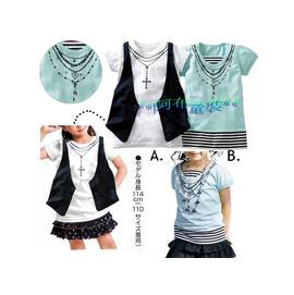 ^~^~阿布 ^~^~~C2629~女孩中大童項鍊印花假兩件上衣120 130 140cm