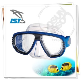 【IST】CORONA 矽膠雙面鏡(可搭配遠視及近視鏡片OL-55).浮潛,潛水.蛙鏡.泳鏡.呼吸管.水上活動/透藍 M-55