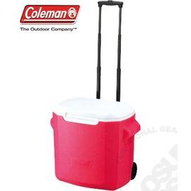 【美國 Coleman】 26.5L拖輪置物型冰桶(原廠公司貨).保冷冰箱.拉桿式行動冰箱.露營保鮮/特價中 CM-0028 桃紅