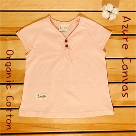 ☉藍天畫布☉100^%有機棉 兒童木扣短袖T恤,粉紅色110^~140cm,環保染色, 織