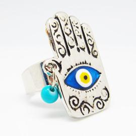 ~藍色土耳其~~Evil Eye土耳其避邪藍眼睛Hamsa hand糖瓷砝瑯戒指~古老具有
