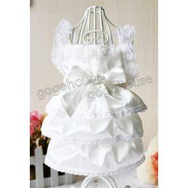 ~狗狗之家~ 綢緞蛋糕裙白色婚紗禮服