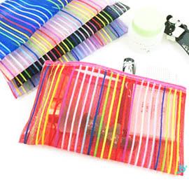 時尚必備 彩紅輕簡可透視網格化妝包 /零錢包/收納包/包中包