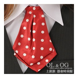 ~OL  OG ~焦點魅力~美眉學院風領帶式領結^(紅底小白點^)