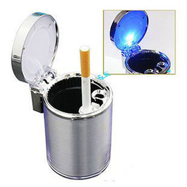 家居/汽車/辦公都適用~彈出式 時尚質感藍光LED 夜間發光 含蓋式 活性炭 煙灰缸 /車用雜物盒 車載垃圾桶/車用煙灰缸