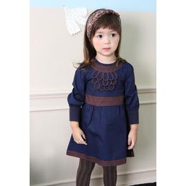 M: 小溪鳴  韓國首爾正貨 韓單 品牌ANNIKA原單~典雅的牧羊女 深藍色小洋裝 可正