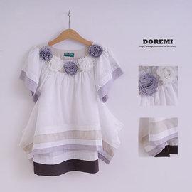 D25025 外貿歐單^~氣質立體花朵連身裙 長版上衣XS^(2T^)~^(3T^)~^(