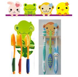 【HH婦幼館】快樂動物一家三口吸盤牙刷架(不挑款)