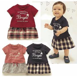 【HH婦幼館】假兩件式休閒英文印花棉T襯衫造型洋裝