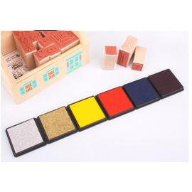 方盒彩色印泥(深蓝/銀/綠/黃/咖啡/金/黑/酒紅/橙/淺藍)