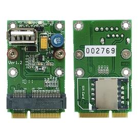 mini PCIe 半高轉全高轉接卡 適配器 帶有USB2.0接口和SIM卡卡槽 ~ MM