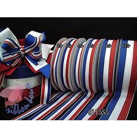 ~小竺緞帶屋~~0115S5~海軍風紅白藍色紗迴紋帶 25碼