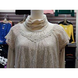 嘉芸的店 本月  手鉤花朵圖案 蕾絲領 蕾絲上衣 下擺縮腰 精緻顯瘦 兩件式上衣